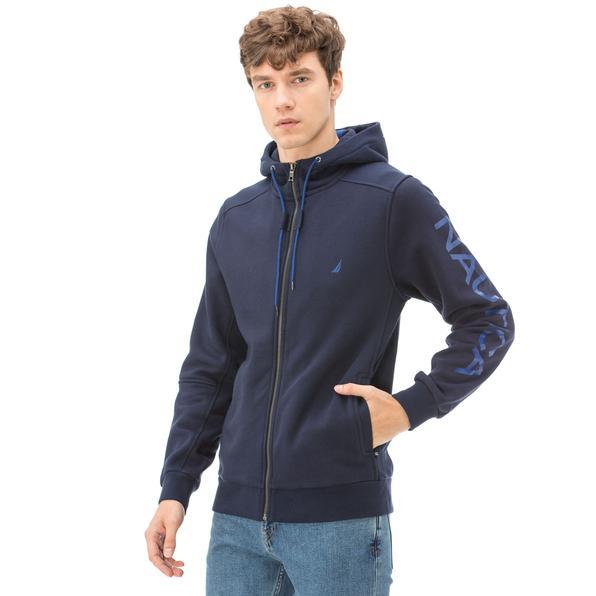 Nautica Uzun Kollu Düz Lacivert Erkek Sweatshirt