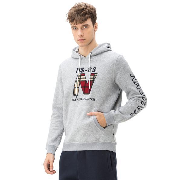 Nautica Erkek Gri Kapüşonlu Sweatshirt