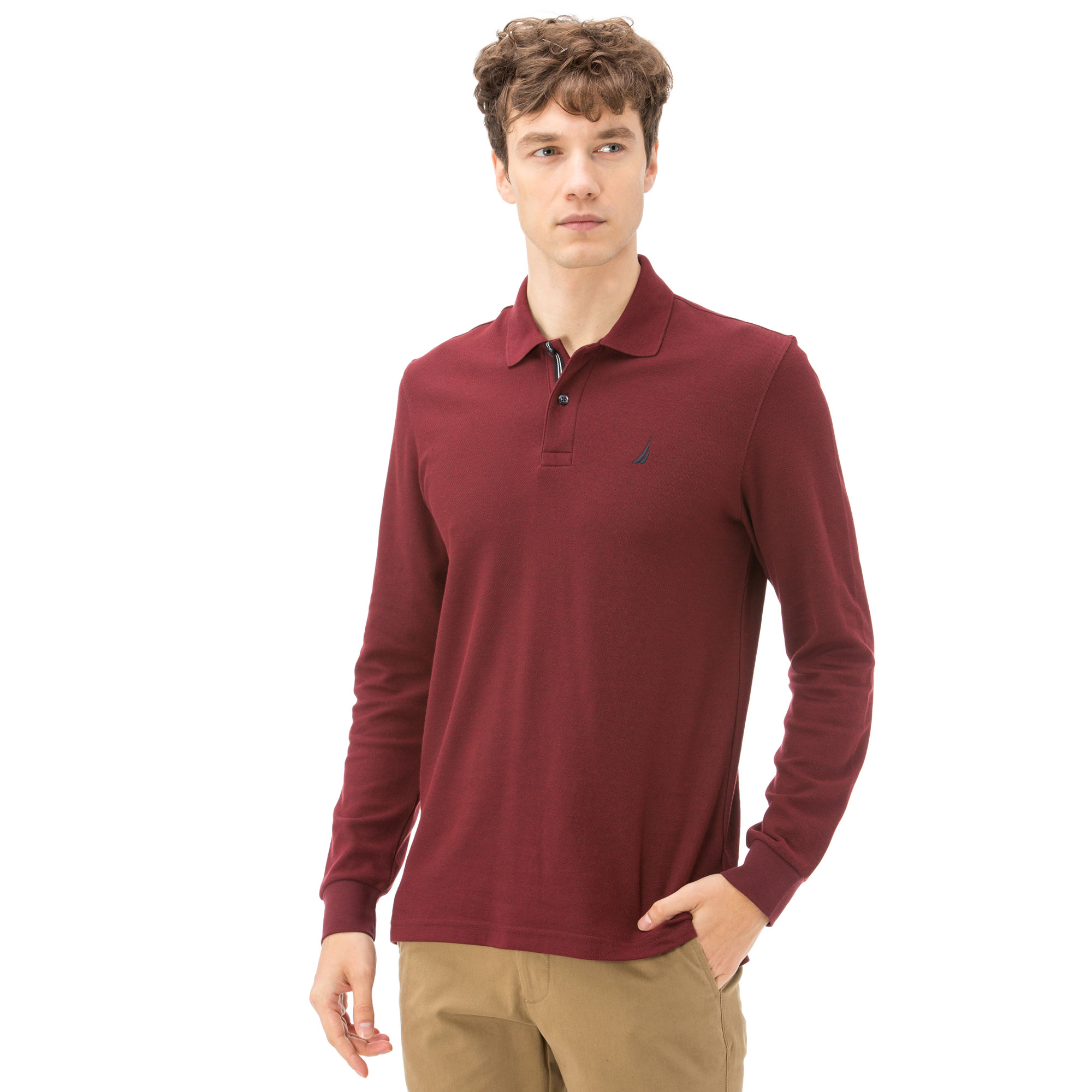 NAUTICA ERKEK SLIM FIT BORDO POLO