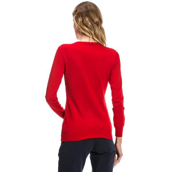 Nautica Uzun Kollu Düz Kırmızı Kadın Triko