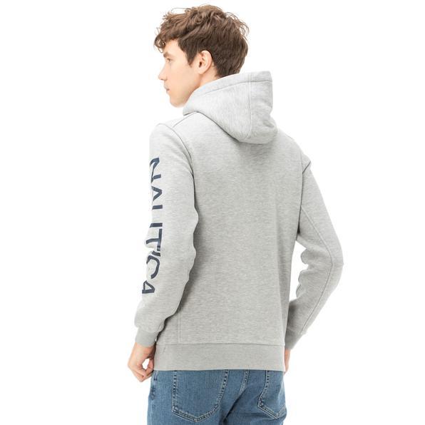 Nautica Uzun Kollu Düz Gri Erkek Sweatshirt