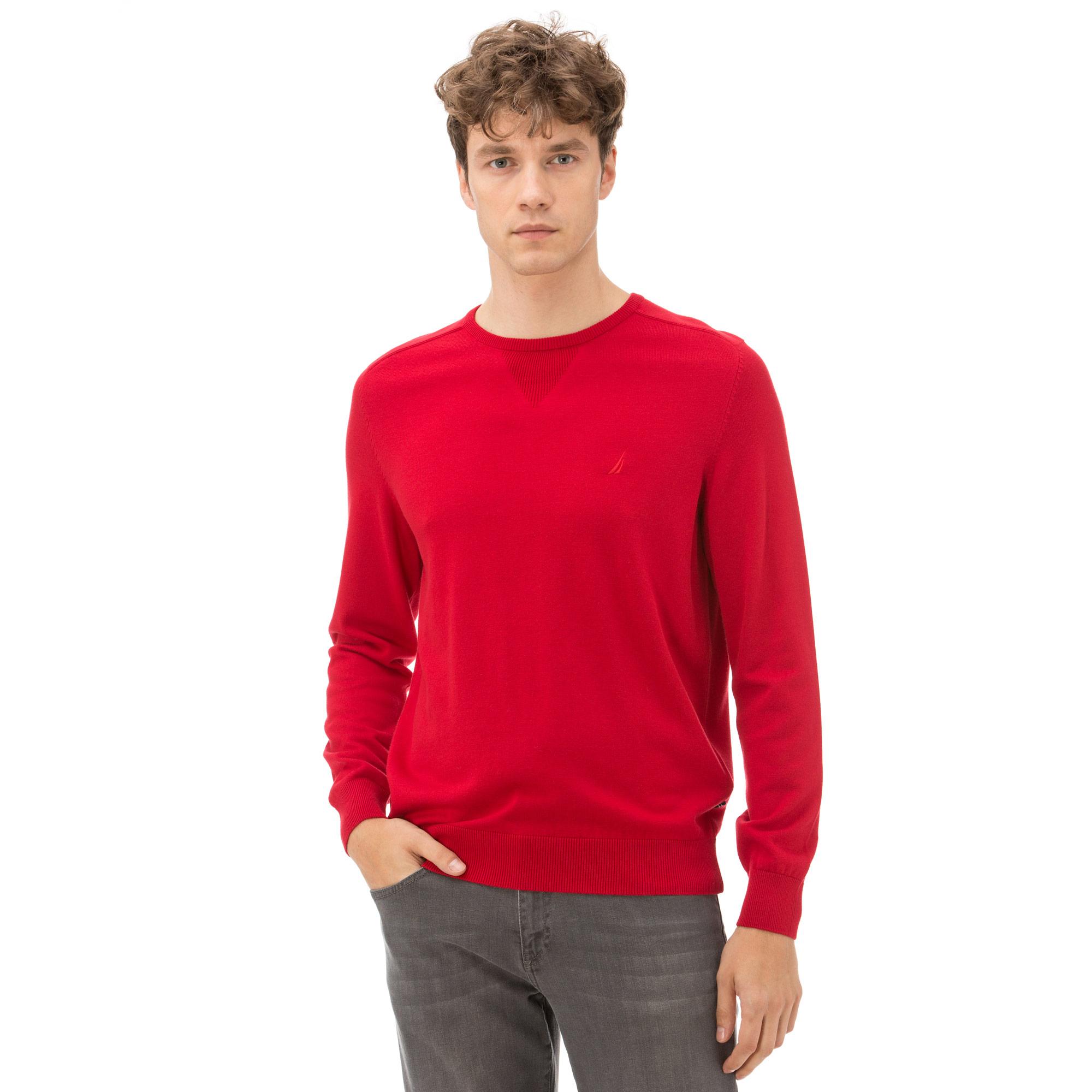 Nautica Uzun Kollu Düz Kırmızı Erkek Triko