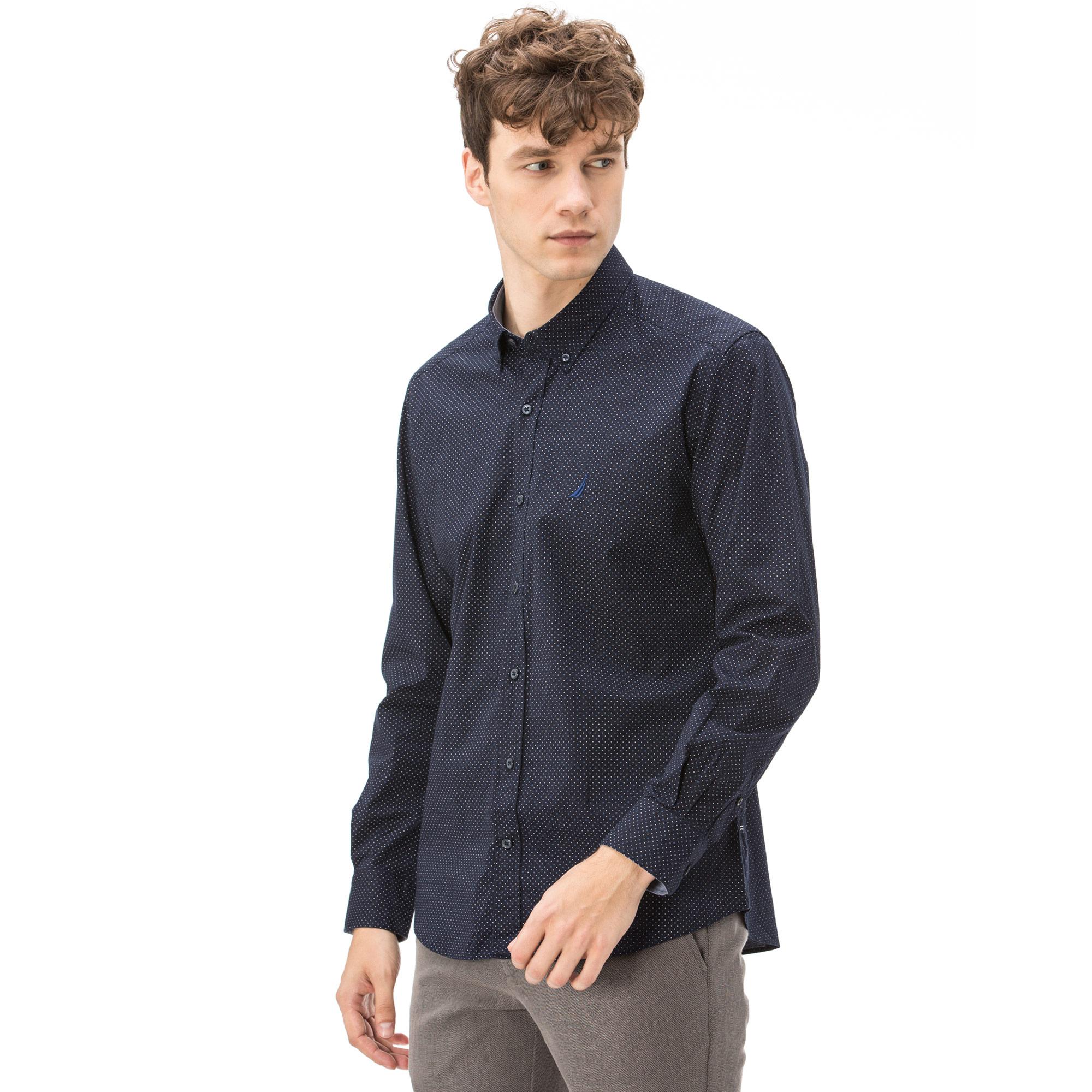 Nautica Erkek Slim Fit Baskılı Lacivert Gömlek