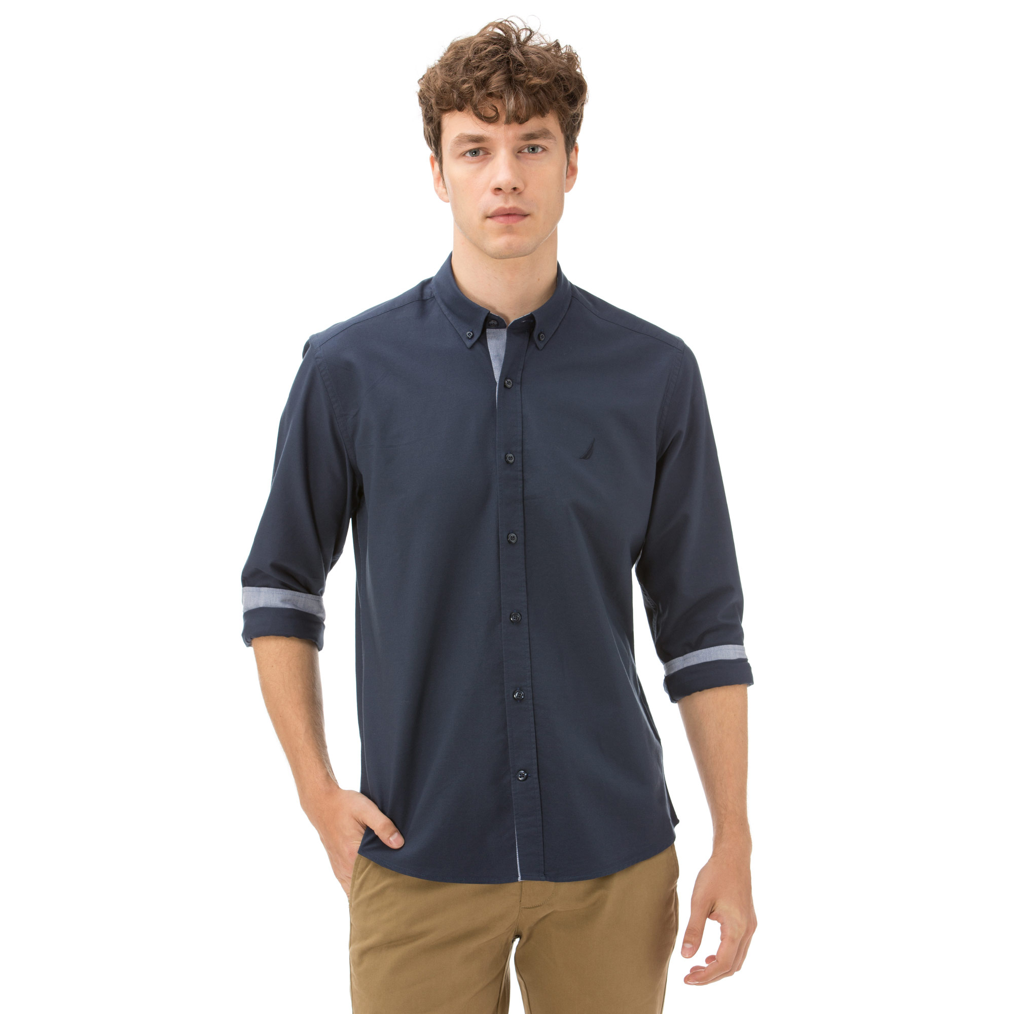 Nautica Erkek Slim Fit Palma Düğmeli Lacivert Gömlek