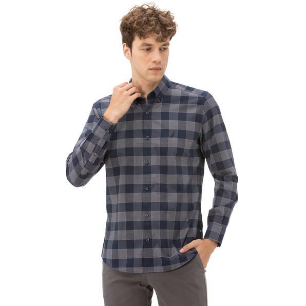 Nautica Erkek Slim Fit Kırışmayan Lacivert Ekoseli Gömlek