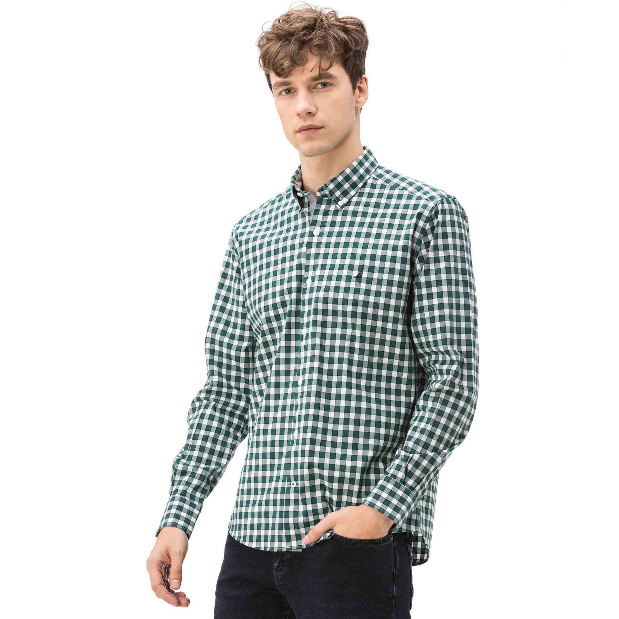 Nautica Erkek Slim Fit Düz Yeşil Ekoseli Gömlek