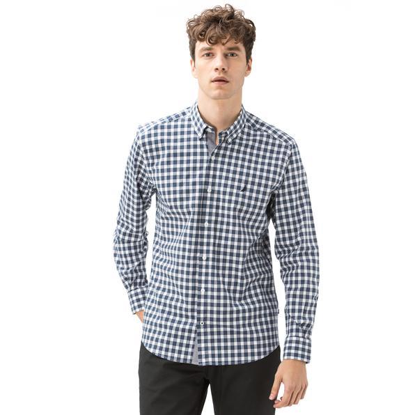 Nautica Erkek Slim Fit Düz Mavi Ekoseli Gömlek