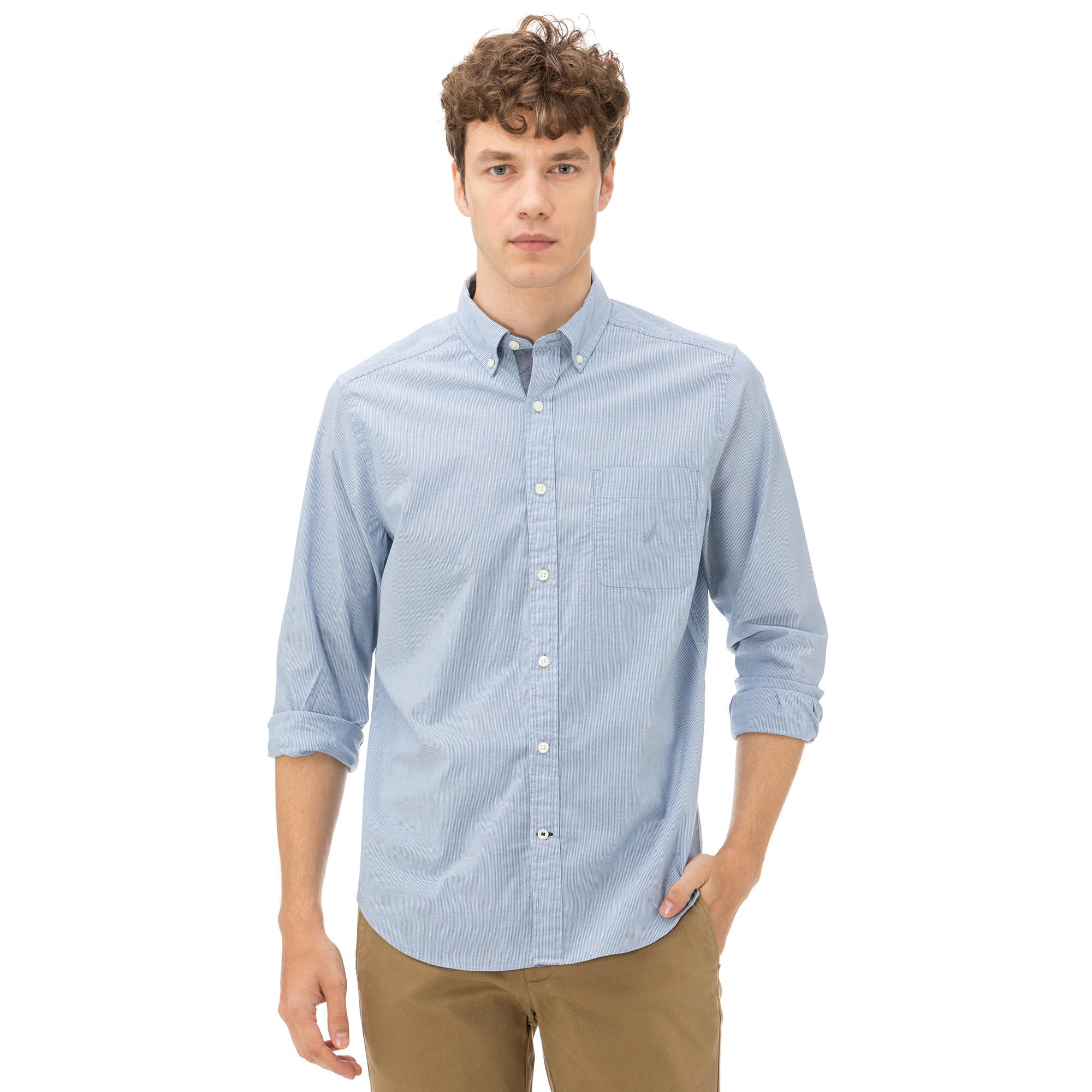 Nautica Erkek Çizgili Mavi Gömlek