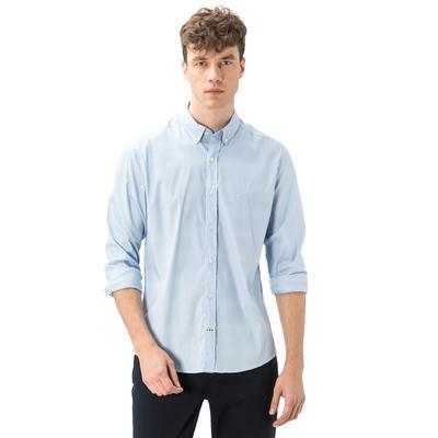 Nautica Erkek Slim Fit Armürlü Açık Mavi Gömlek