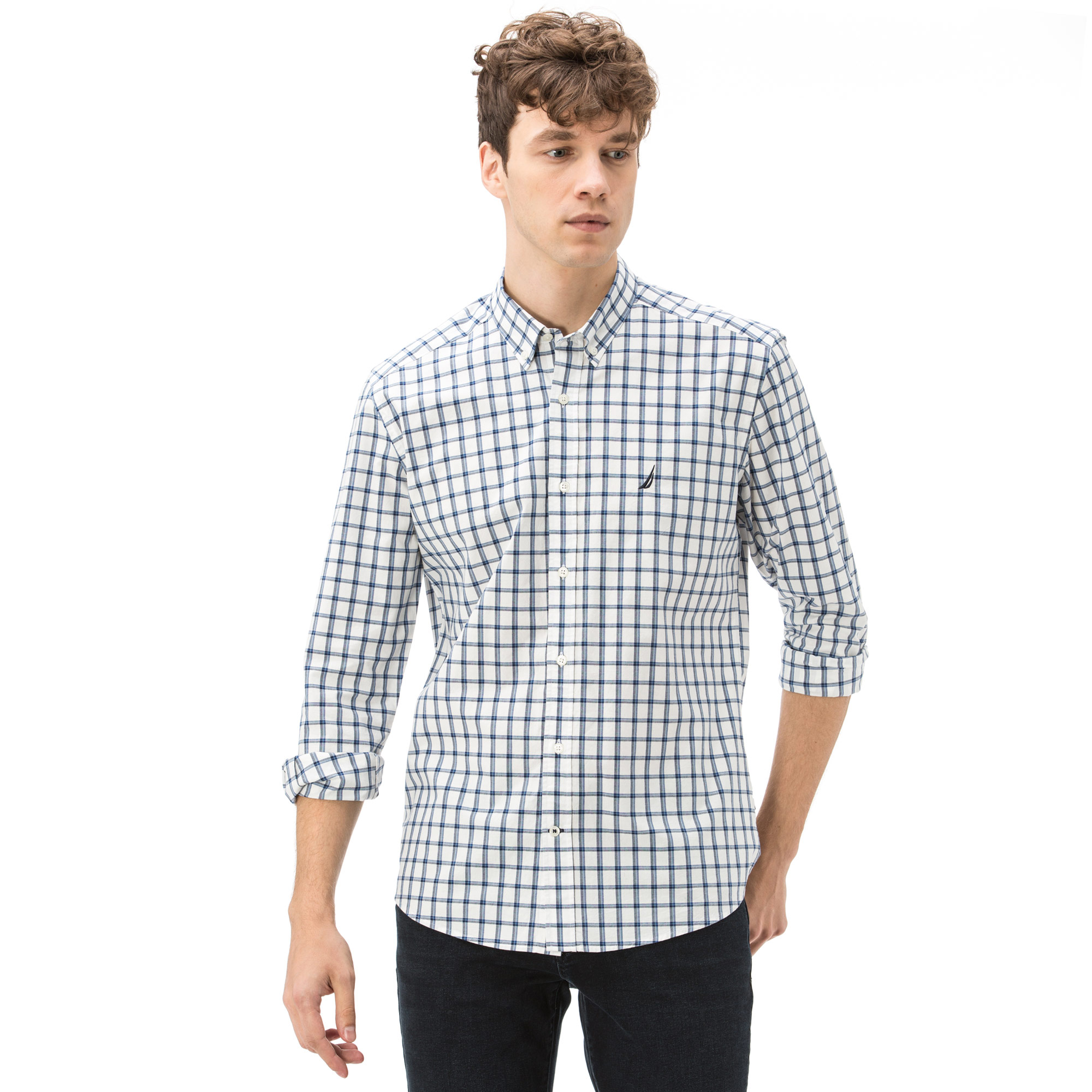 Nautica Erkek Slim Fit Beyaz Ekoseli Gömlek