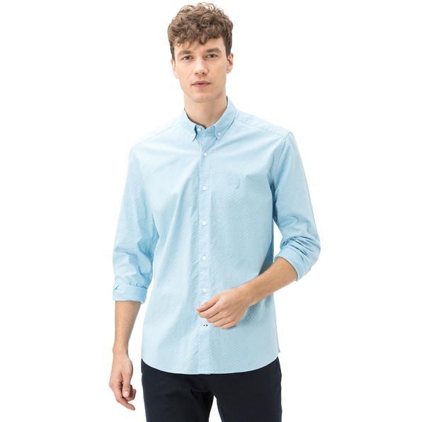 Nautica Erkek Slim Fit Armürlü Düz Mavi Gömlek