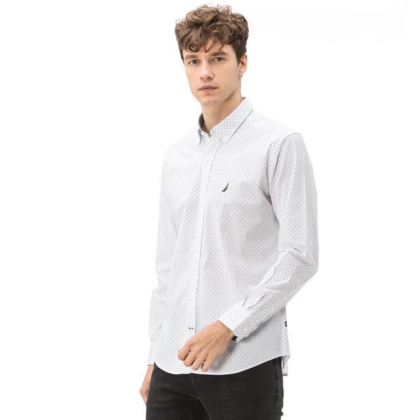 Nautica Erkek Slim Fit Baskılı Beyaz Gömlek