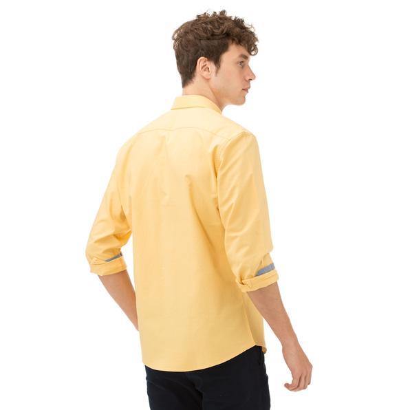 Nautica Erkek Slim Fit Palma Düğmeli Sarı Gömlek
