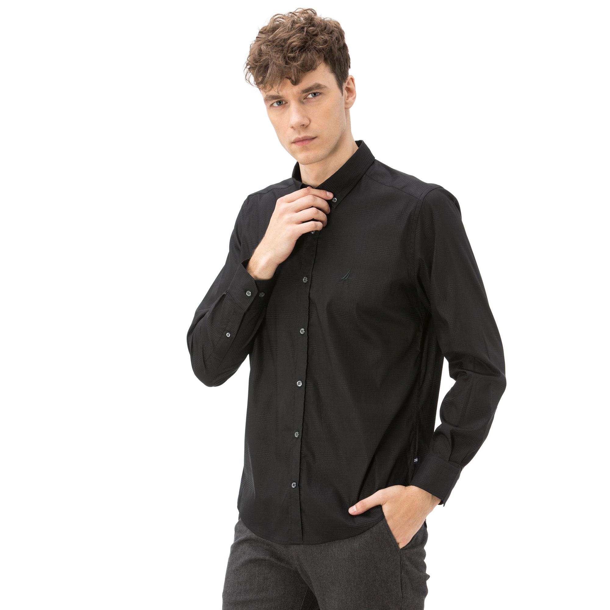 Nautica Erkek Slim Fit Armürlü Siyah Gömlek
