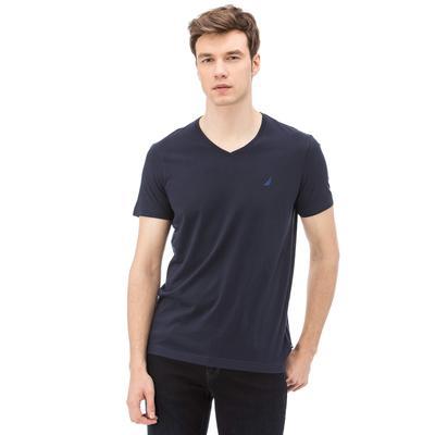 Nautica Erkek V Yaka Slim Fit Lacivert T-Shirt