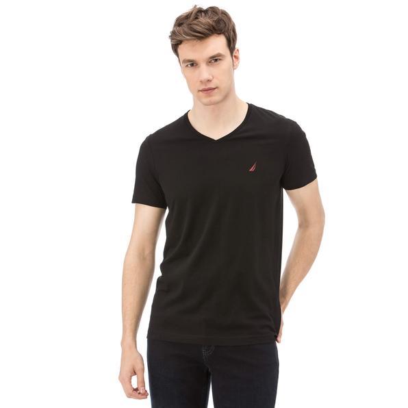Nautica Erkek V Yaka Slim Fit Siyah T-Shirt