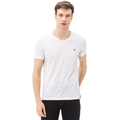 Nautica Erkek V Yaka Slim Fit Beyaz T-Shirt