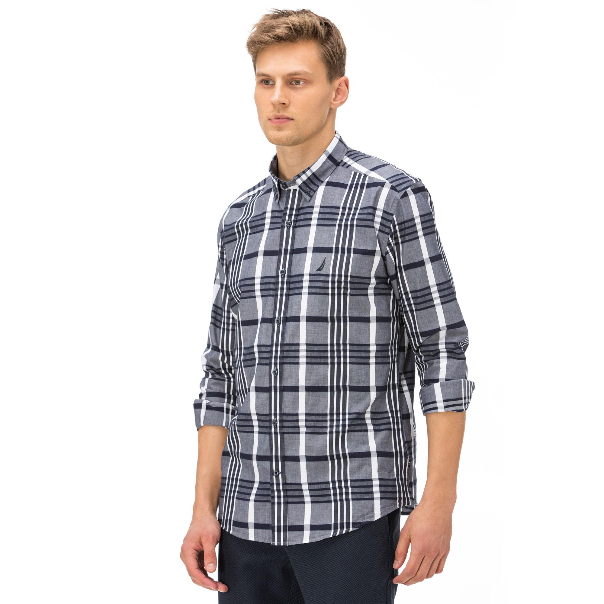 Nautica Erkek Slim Fit Gri - Lacivert Ekoseli Gömlek