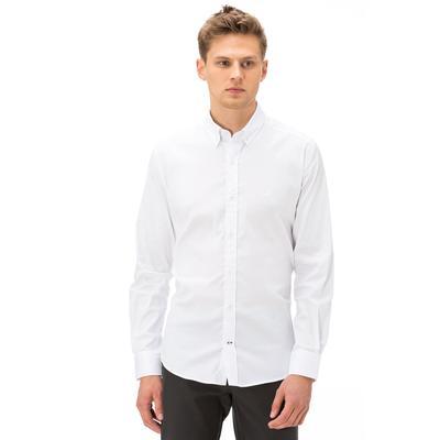 Nautica Erkek Slim Fit Armürlü Beyaz Gömlek