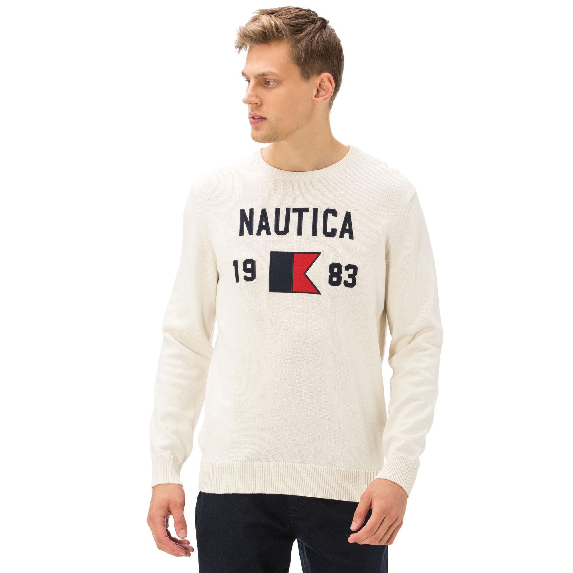 Nautica Erkek Classıc Fıt Kırık Beyaz Triko