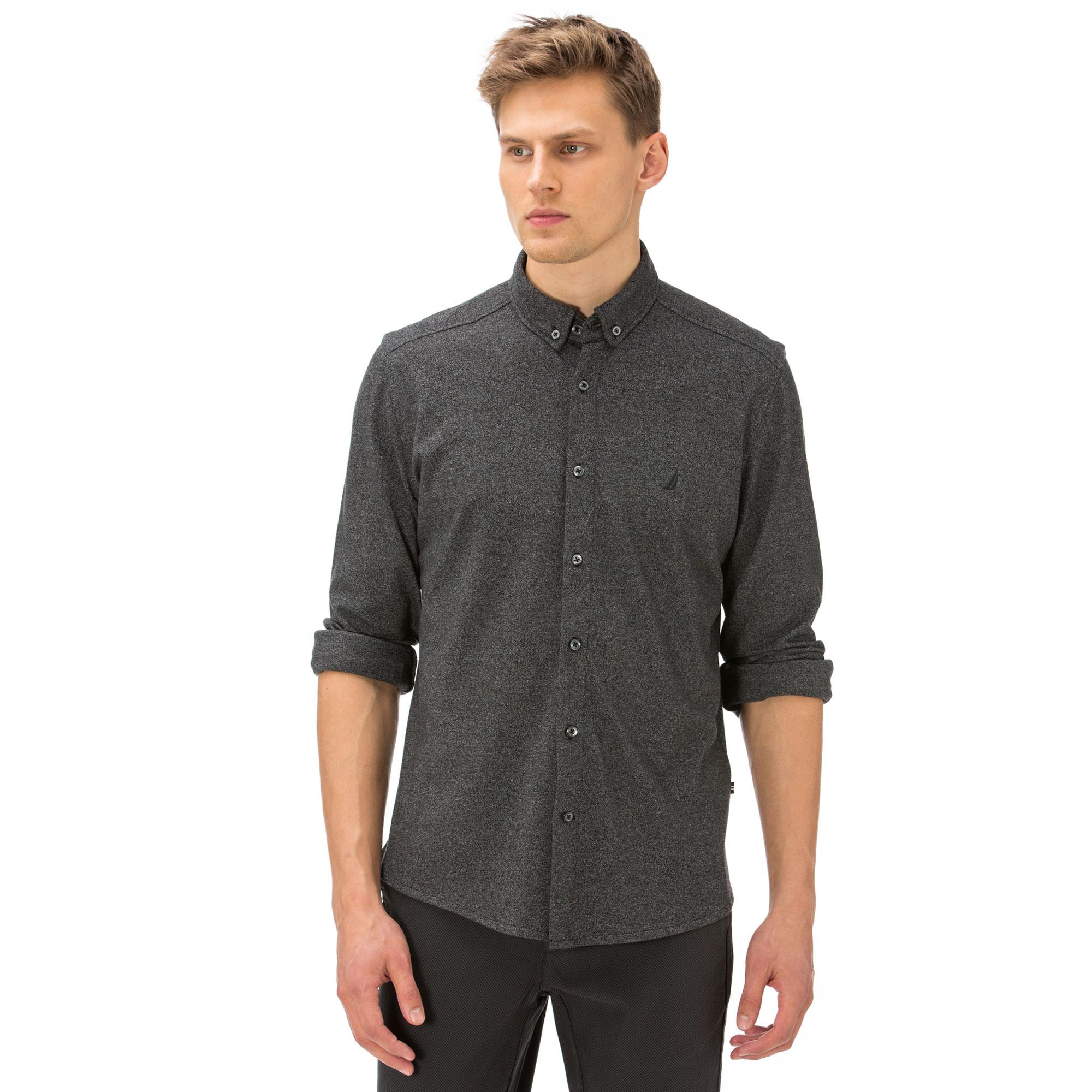 Nautica Erkek Koyu Füme Melanj Slim Fit Gömlek