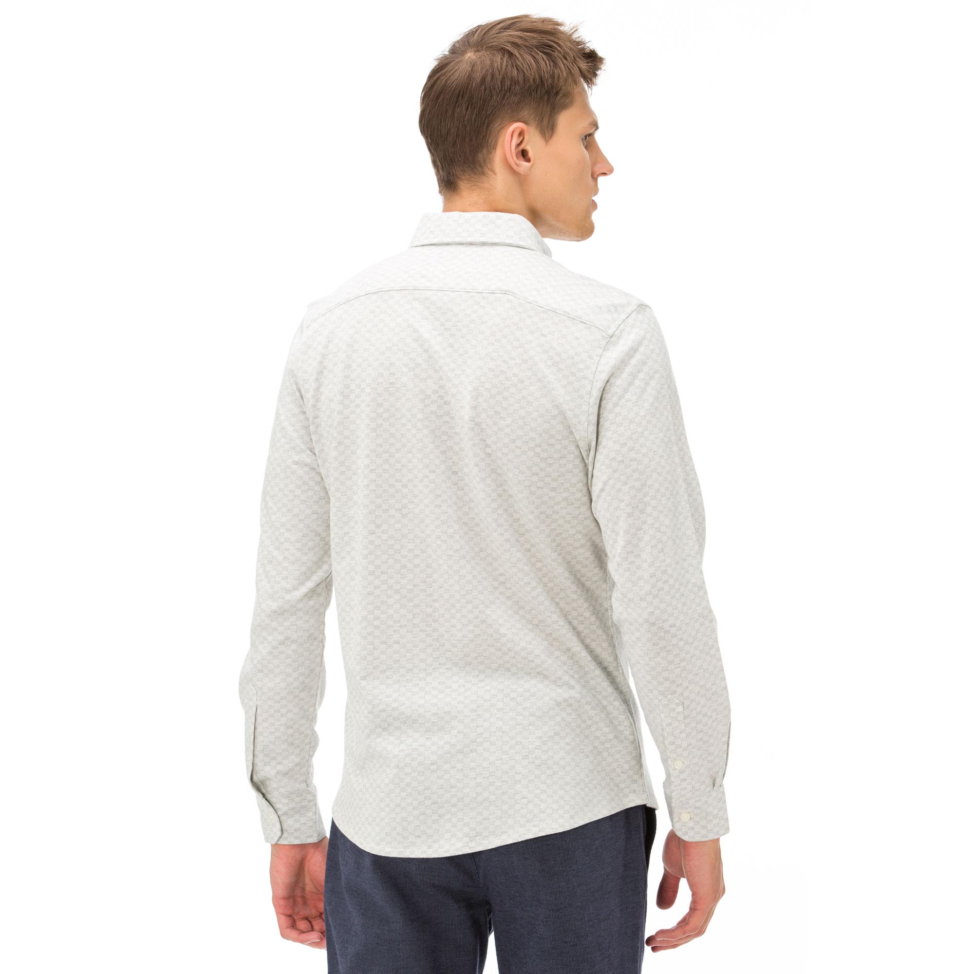 Nautica Erkek Armürlü Slim Fit Beyaz Gömlek