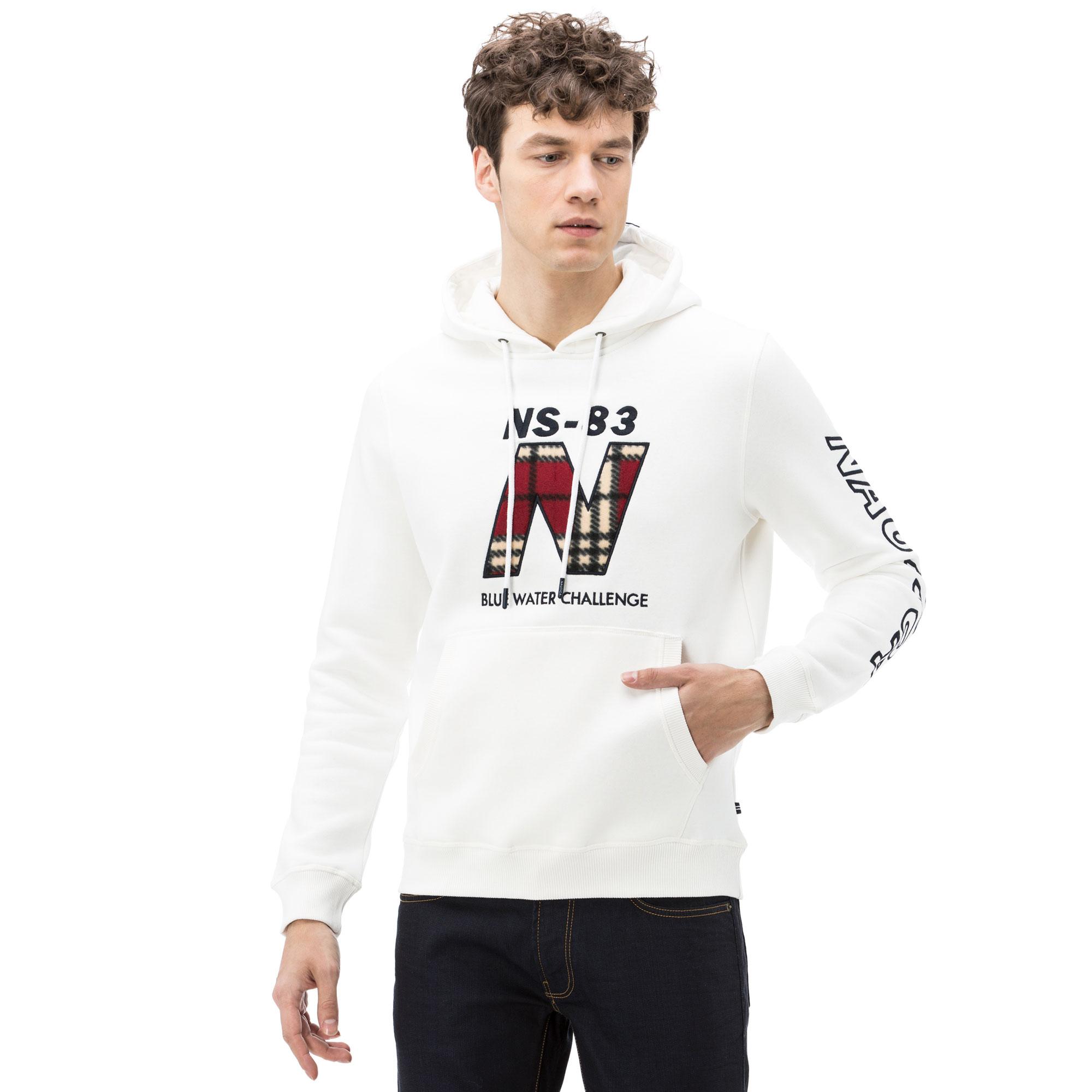 Nautica Erkek Kırık Beyaz Kapüşonlu Sweatshirt