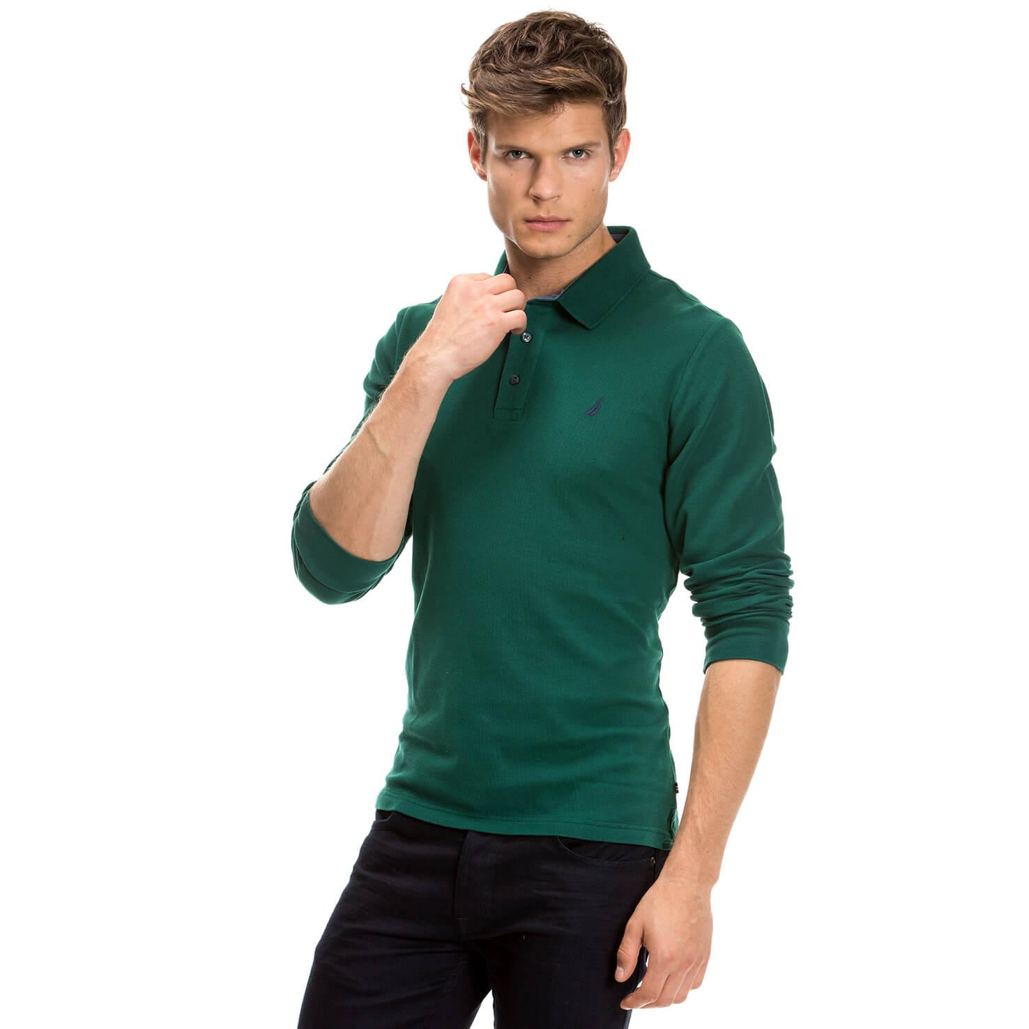 Nautica Uzun Kollu Düz Yeşil Erkek Polo