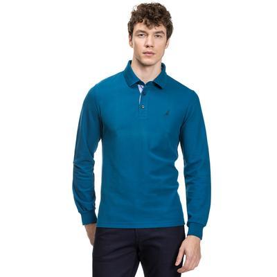 Nautica Uzun Kollu Düz Mavi Erkek Polo