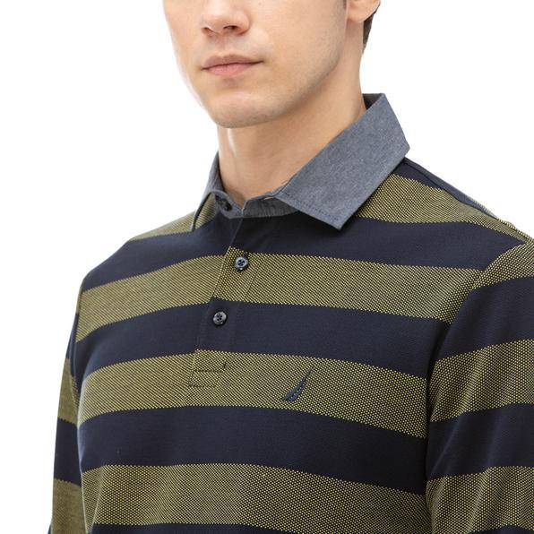 NAUTICA Erkek Sarı Classic Fit Çizgili Polo