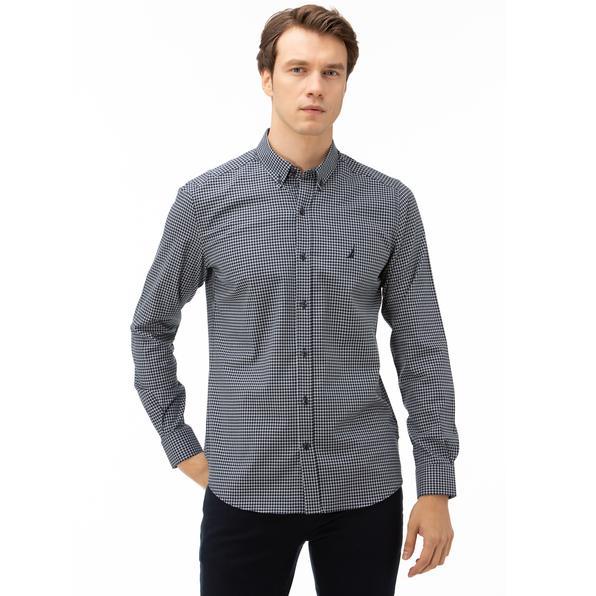 NAUTICA Erkek Lacivert Slim Fit Kareli Gömlek