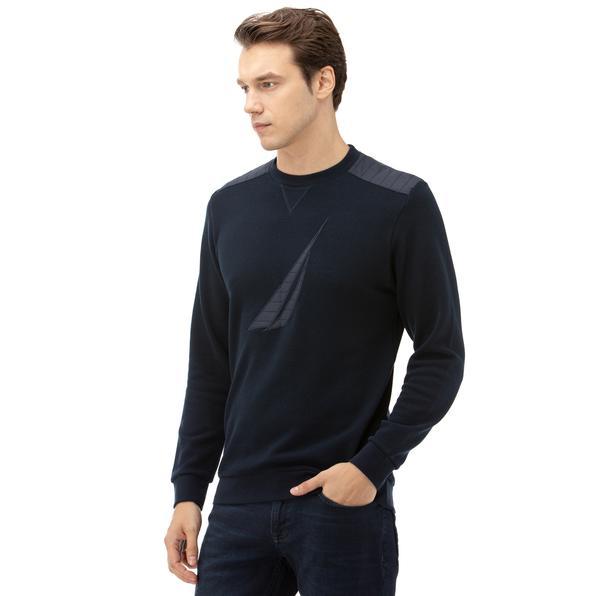 NAUTICA Erkek Lacivert Baskılı Sweatshirt