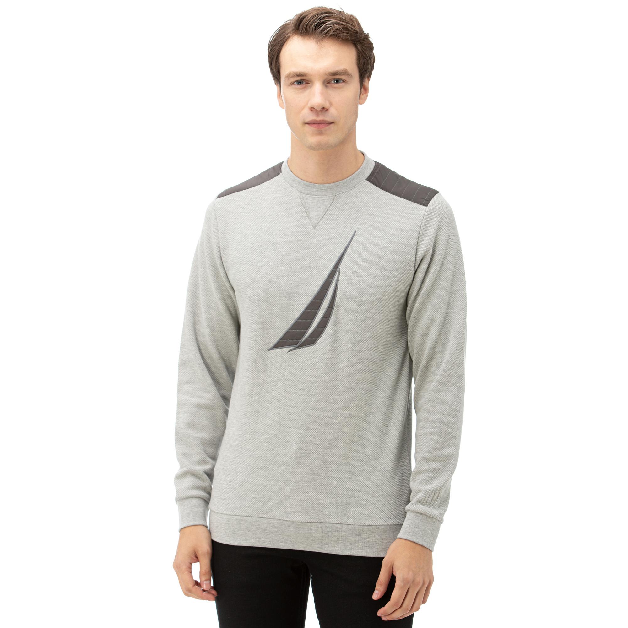NAUTICA Erkek Gri Baskılı Sweatshirt