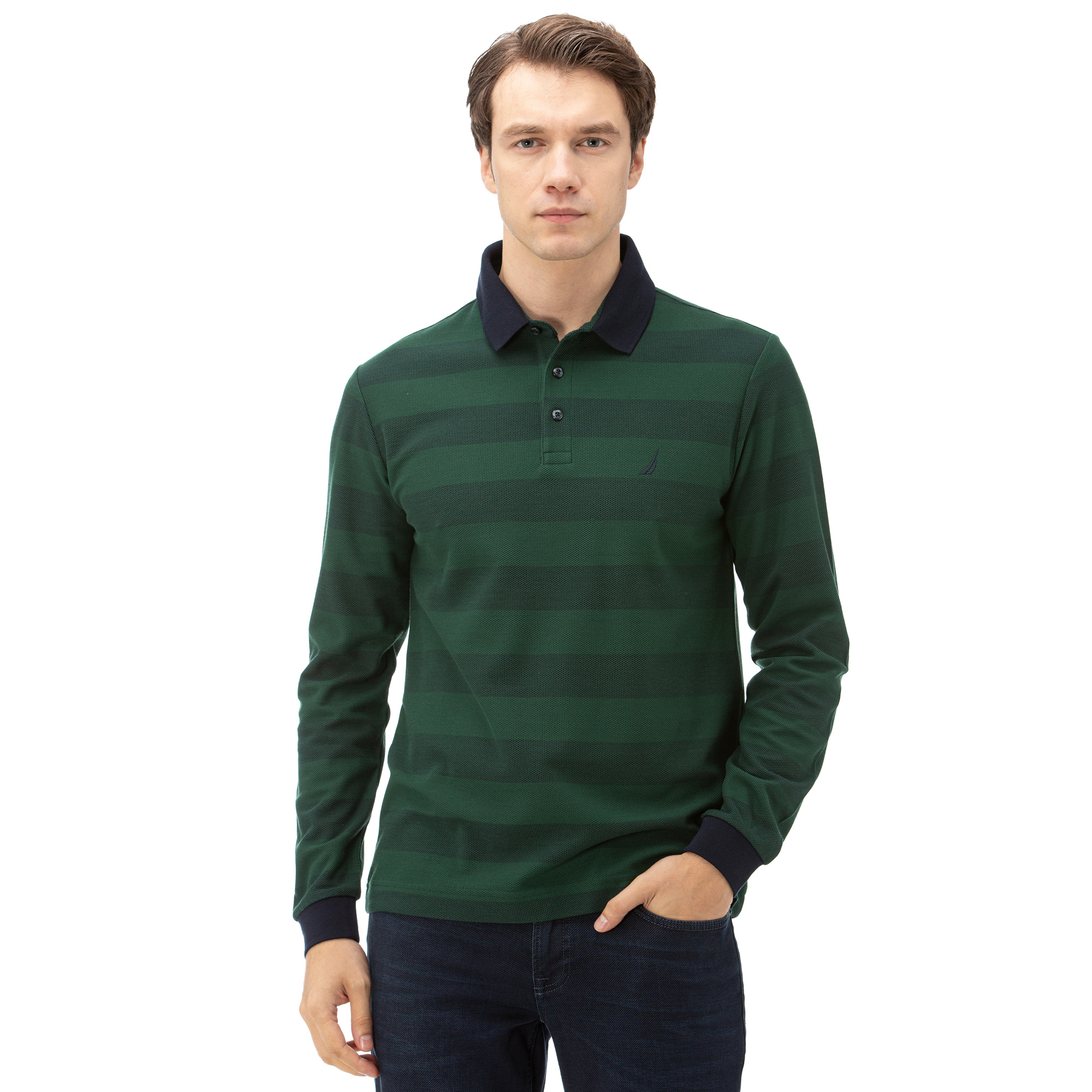 NAUTICA Erkek Yeşil Classic Fit Çizgili Uzun Kollu Polo