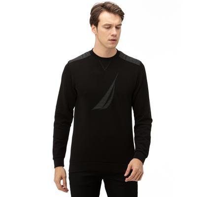 NAUTICA Erkek Siyah Baskılı Sweatshirt