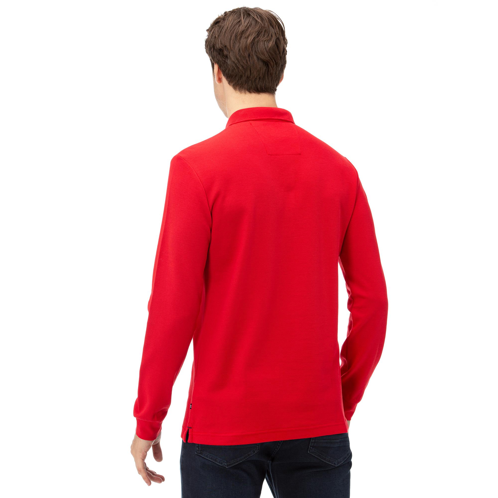 Nautica Uzun Kollu Düz Kırmızı Erkek Polo