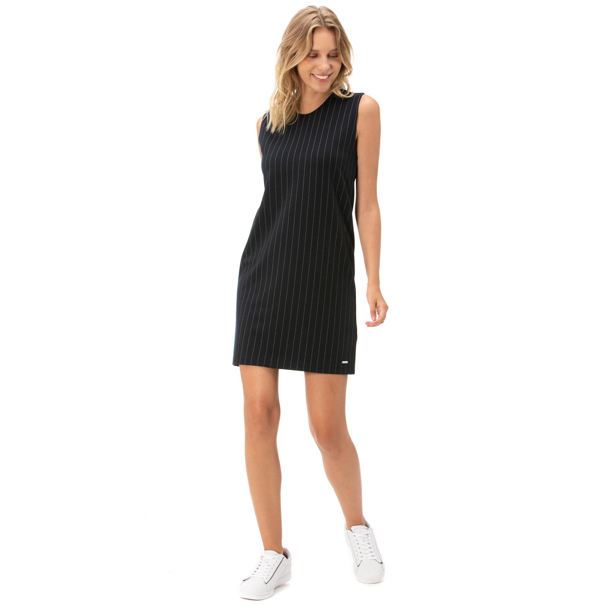 NAUTICA Kadın Lacivert Kolsuz Standart Fit Çizgili Elbise