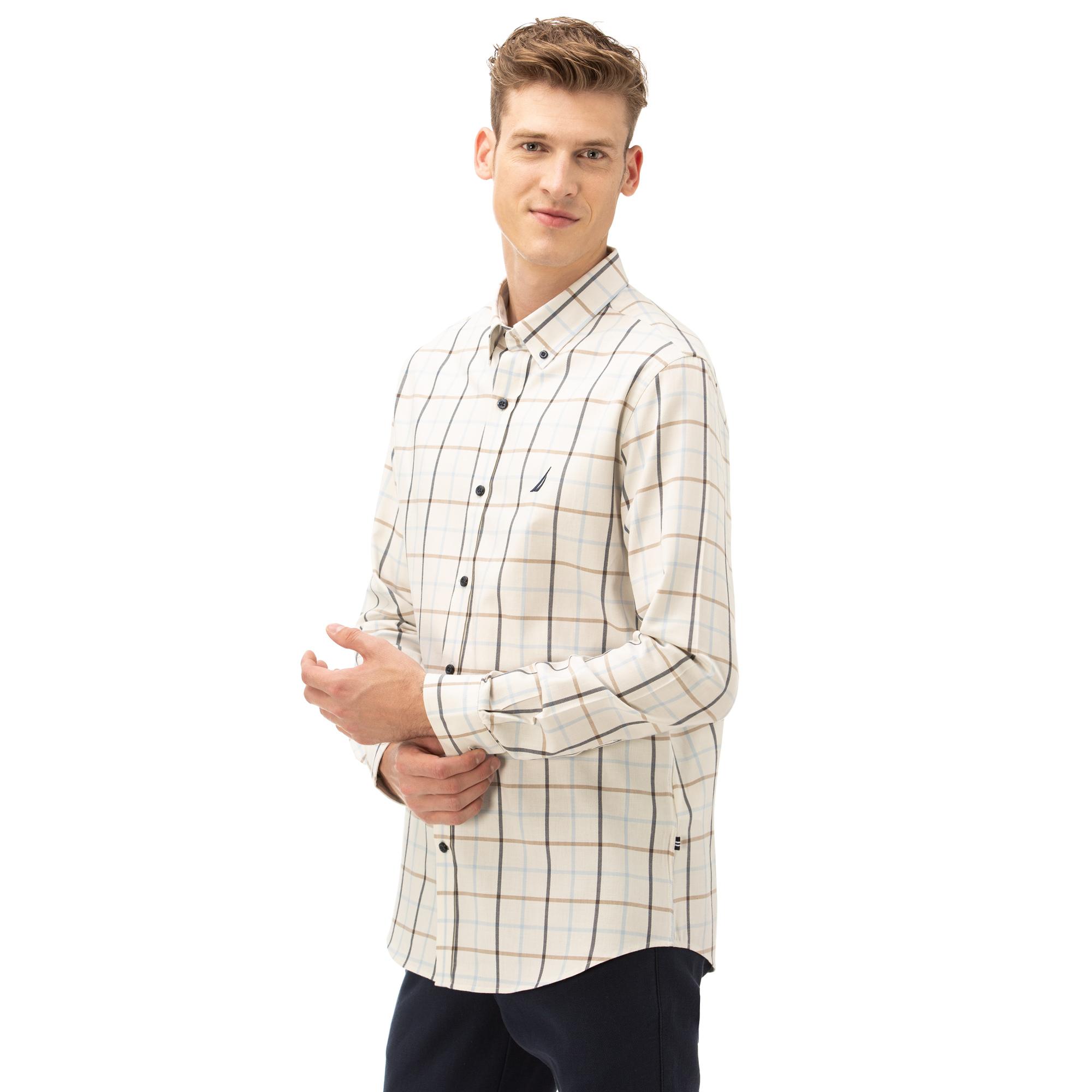 NAUTICA Erkek Krem Slim Fit Kareli Gömlek