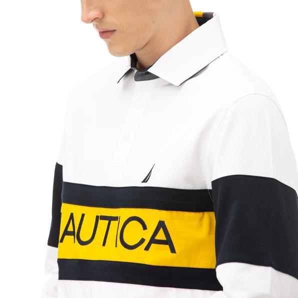 NAUTICA Erkek Beyaz Classic Fit Blok Desenli Uzun Kollu Polo