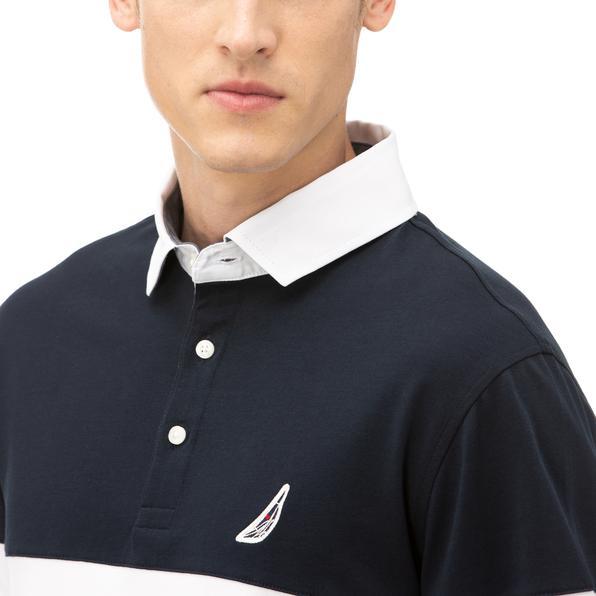 NAUTICA Erkek Lacivert Classic Fit Blok Desenli Uzun Kollu Polo