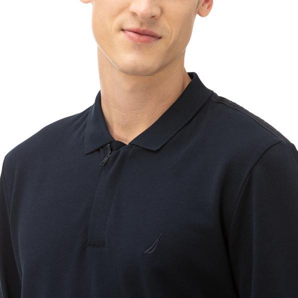 NAUTICA Erkek Lacivert Classic Fit Uzun Kollu Polo