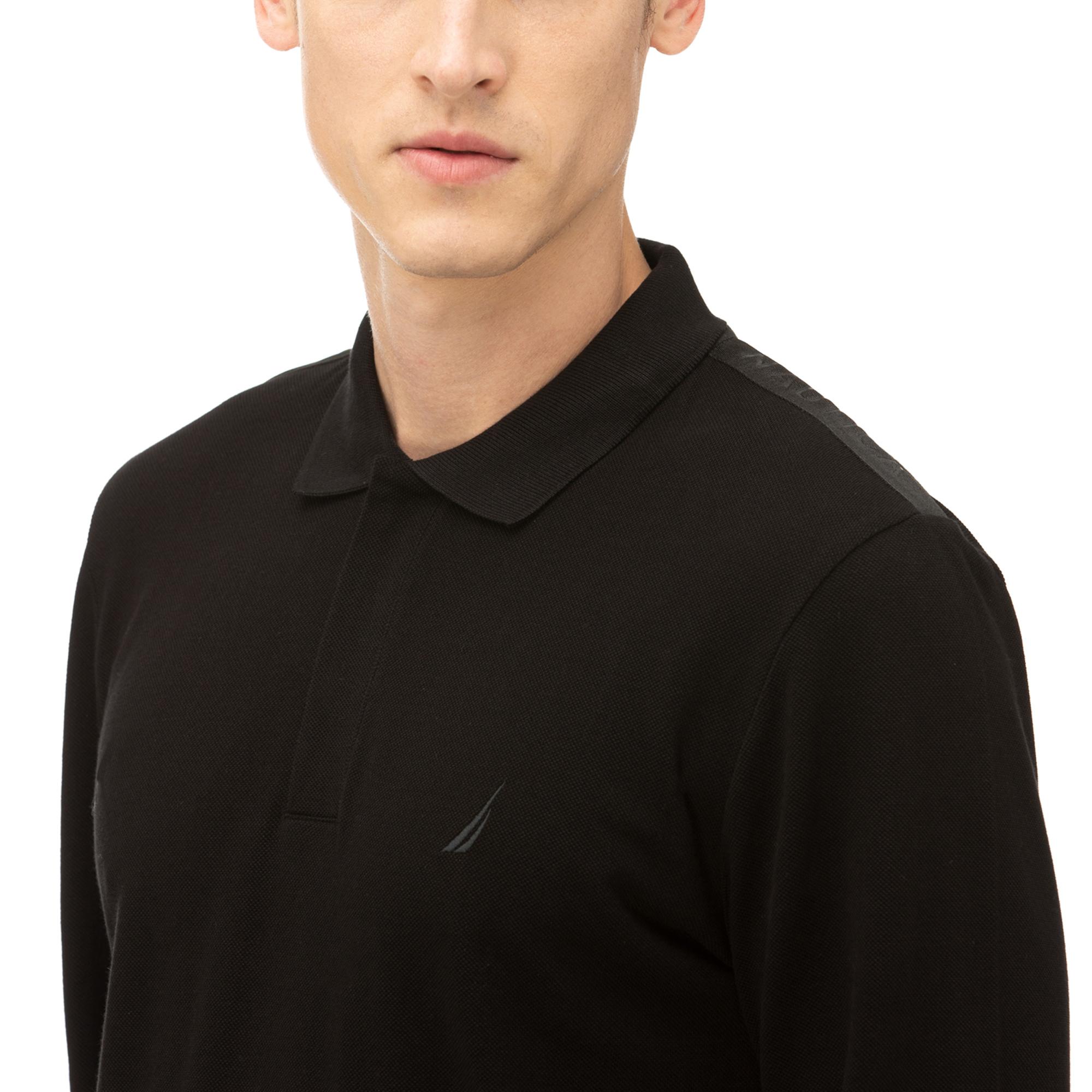 NAUTICA Erkek Siyah Classic Fit Uzun Kollu Polo