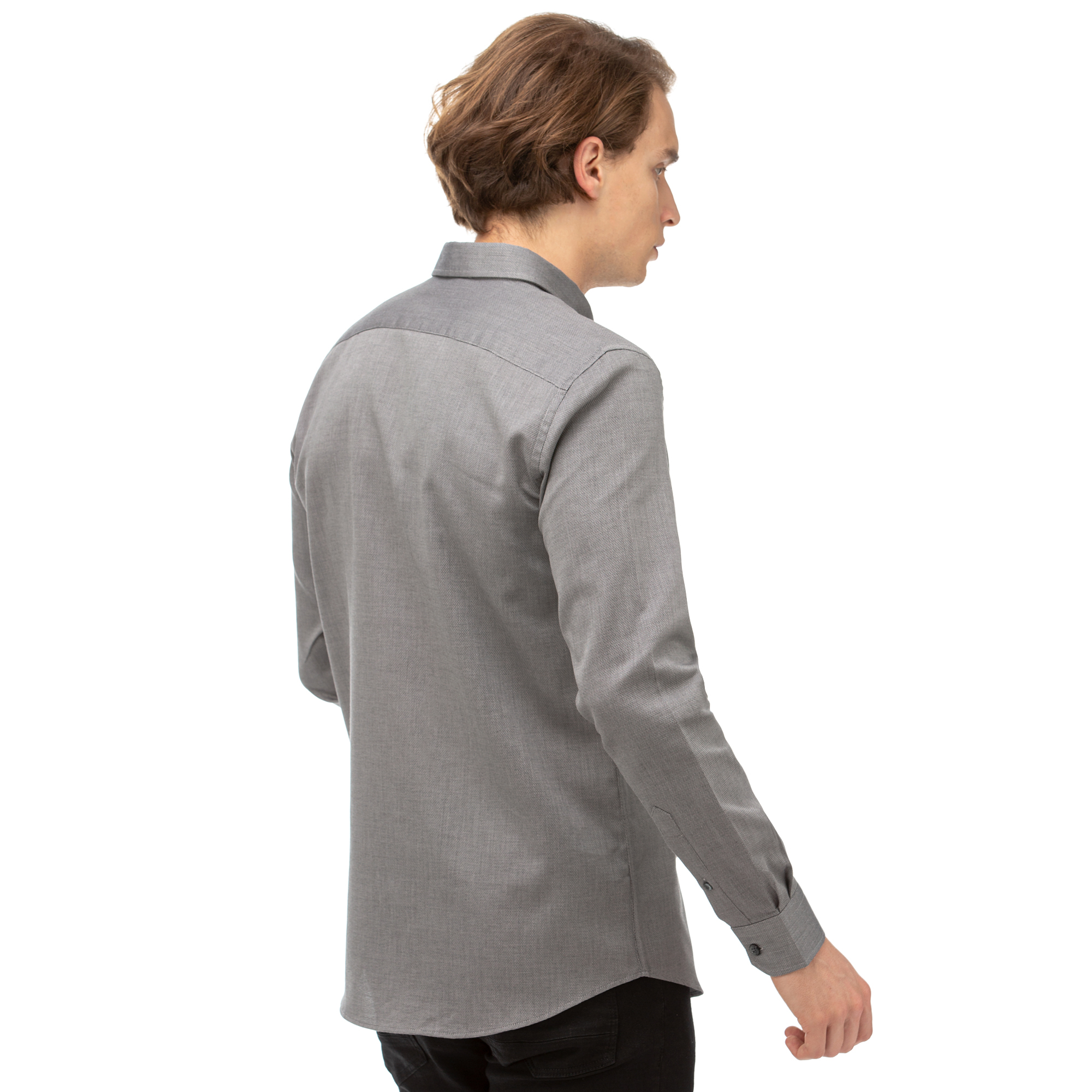 NAUTICA Erkek Gri Slim Fit Gömlek