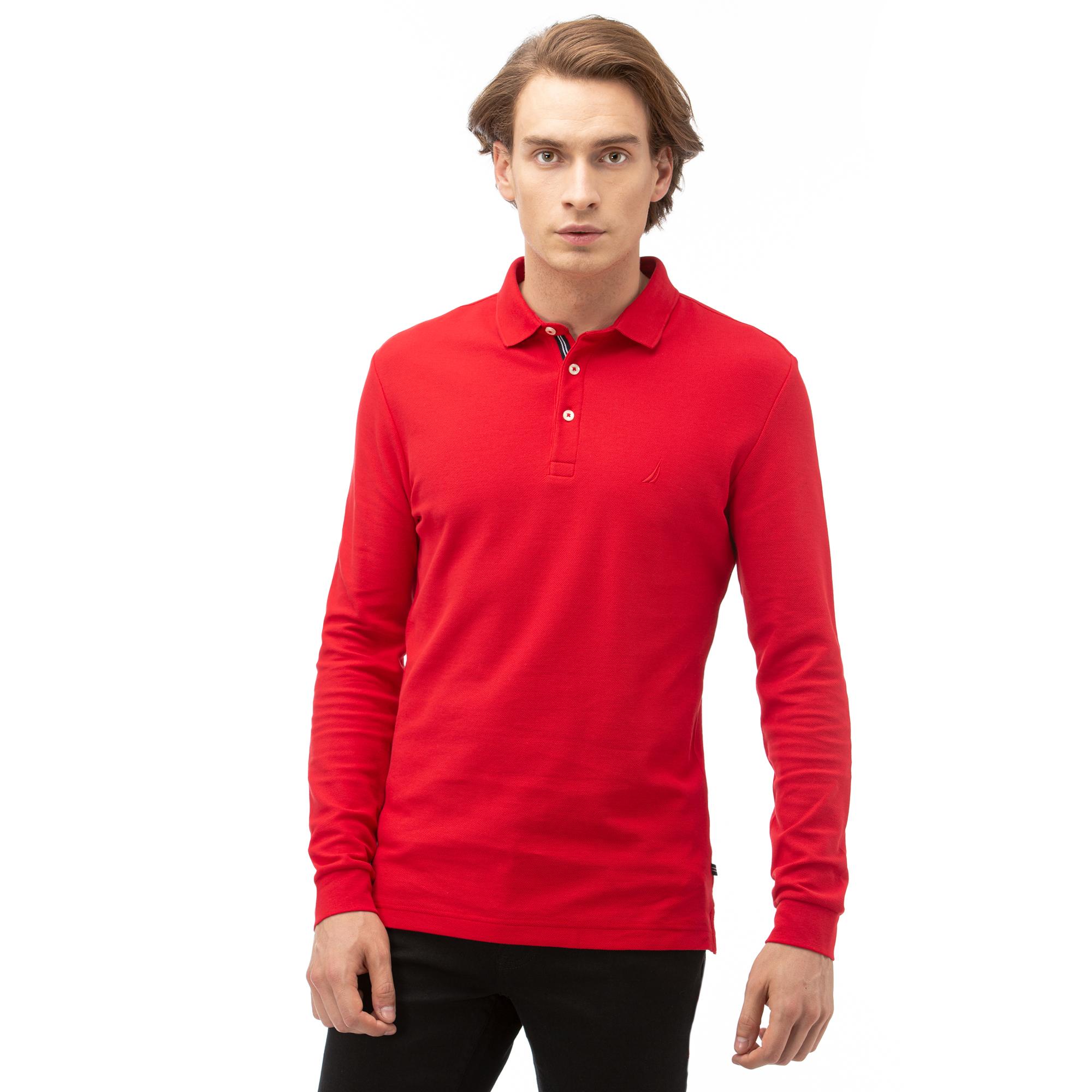 NAUTICA Erkek Kırmızı Slim Fit Uzun Kollu Polo