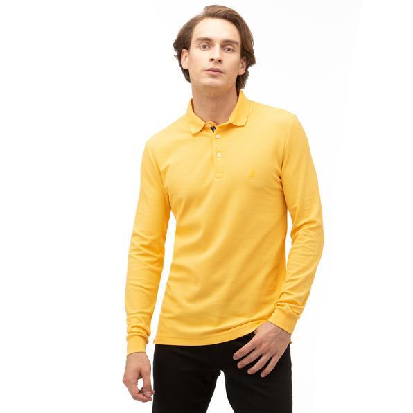 NAUTICA Erkek Sarı Slim Fit Uzun Kollu Polo