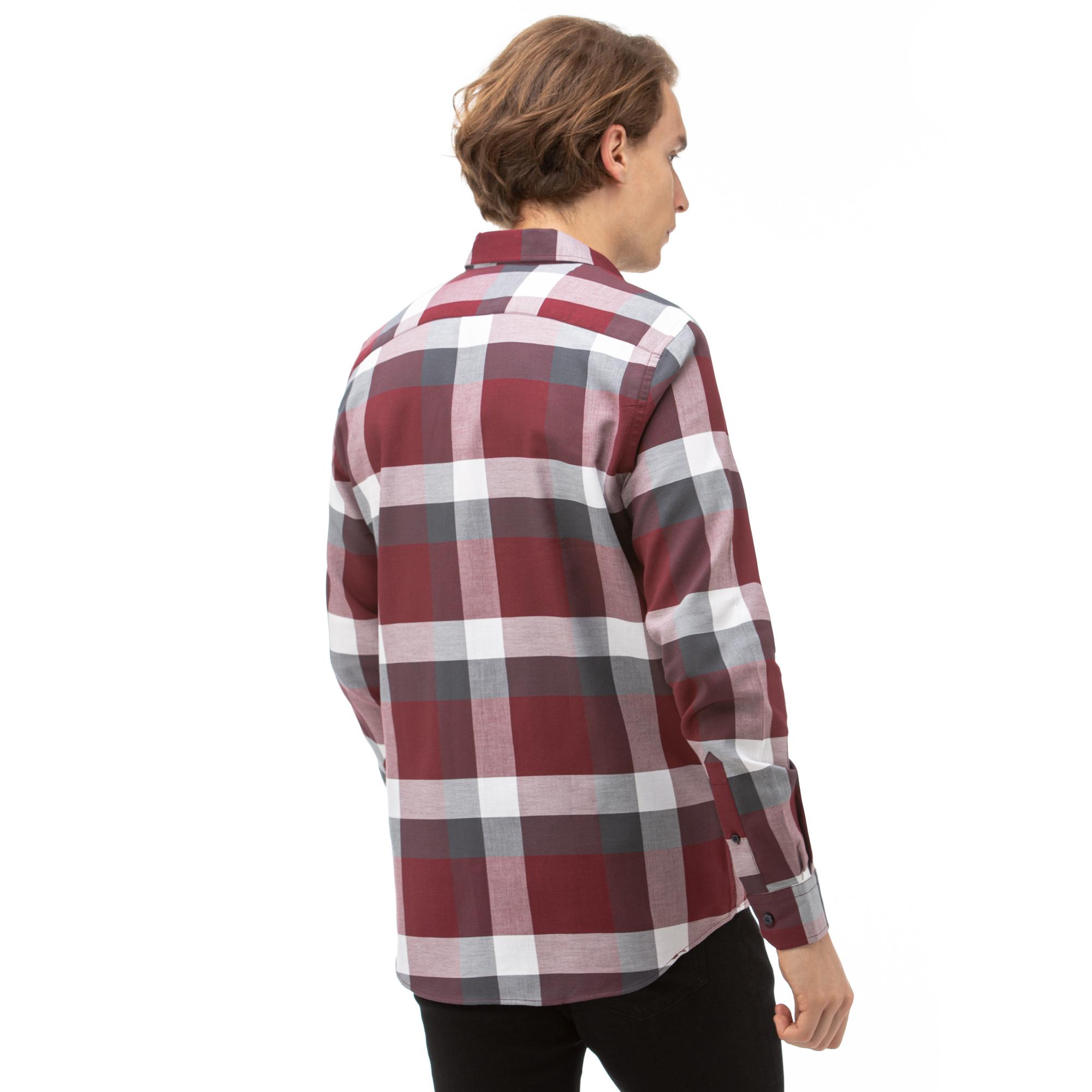 NAUTICA Erkek Bordo Slim Fit Kareli Gömlek