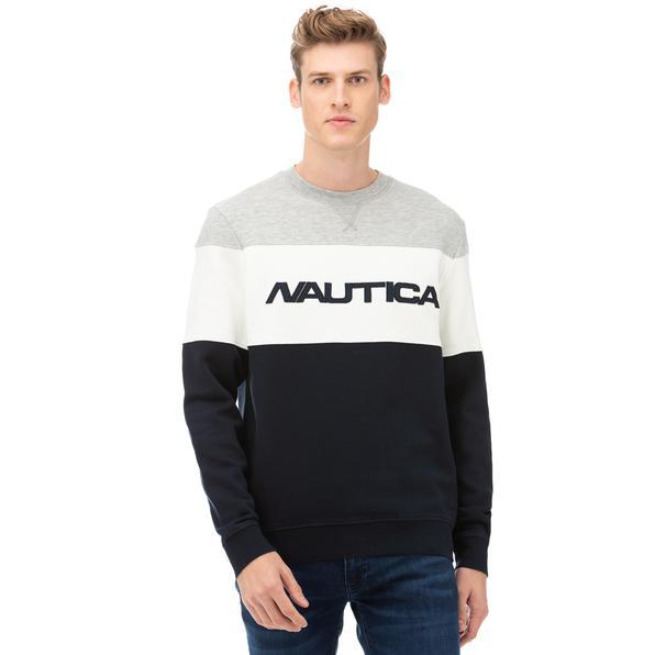 NAUTICA Erkek Lacivert Blok Desenli Sweatshirt
