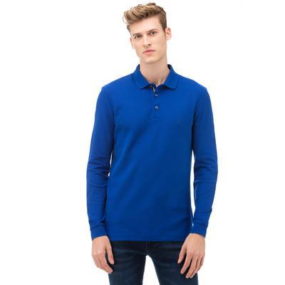 NAUTICA Erkek Mavi Slim Fit Uzun Kollu Polo