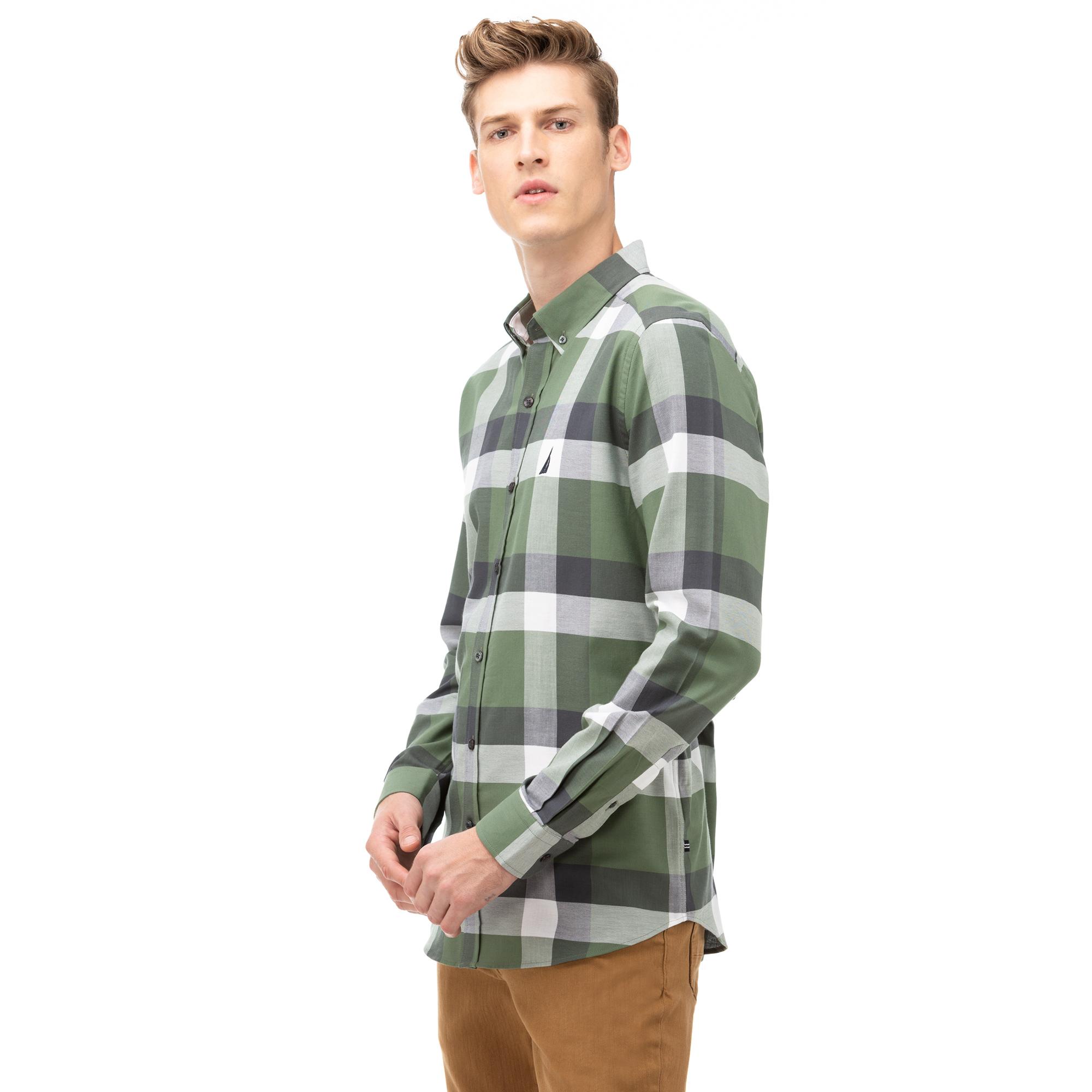 NAUTICA Erkek Yeşil Slim Fit Kareli Gömlek
