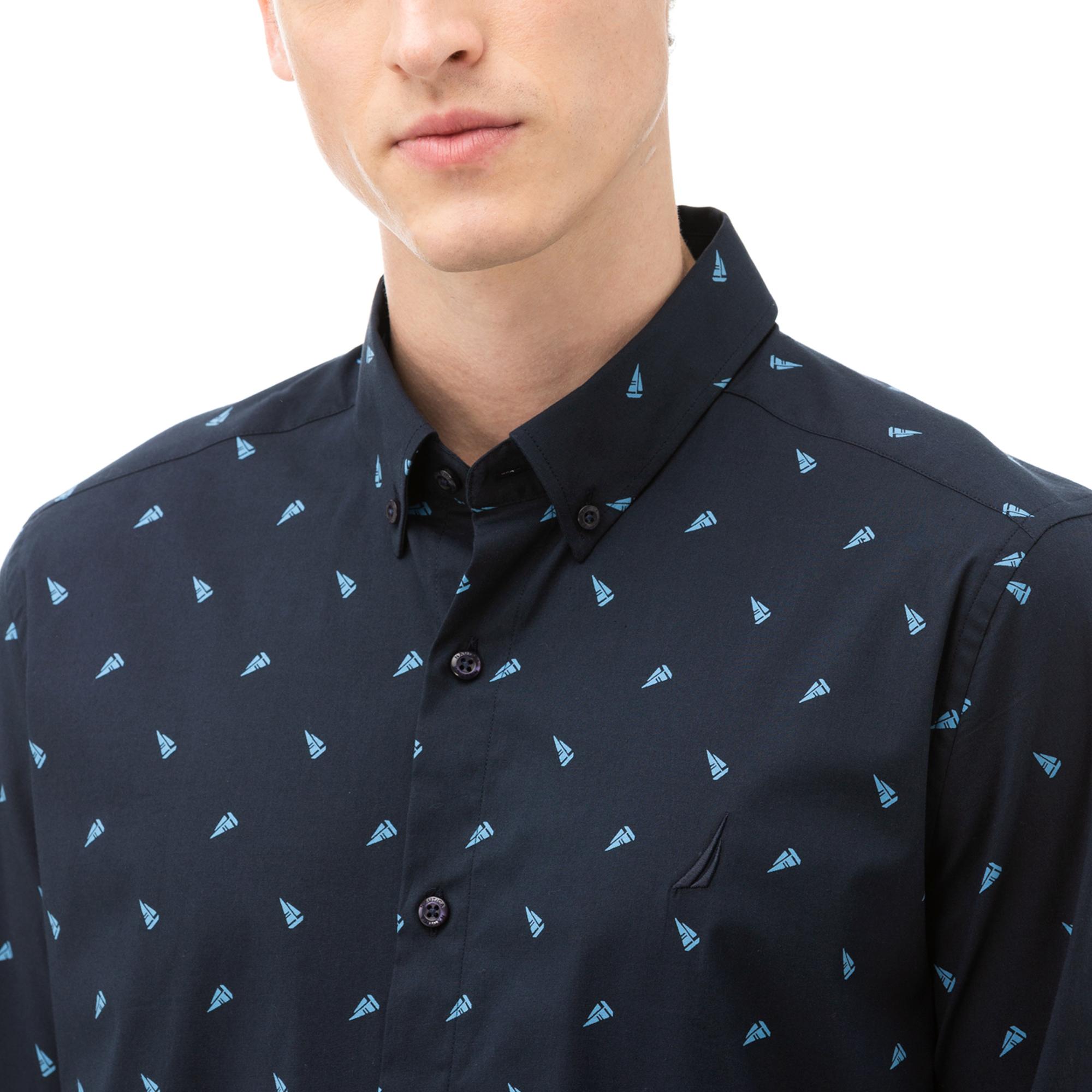 NAUTICA Erkek Lacivert Slim Fit Baskılı Gömlek